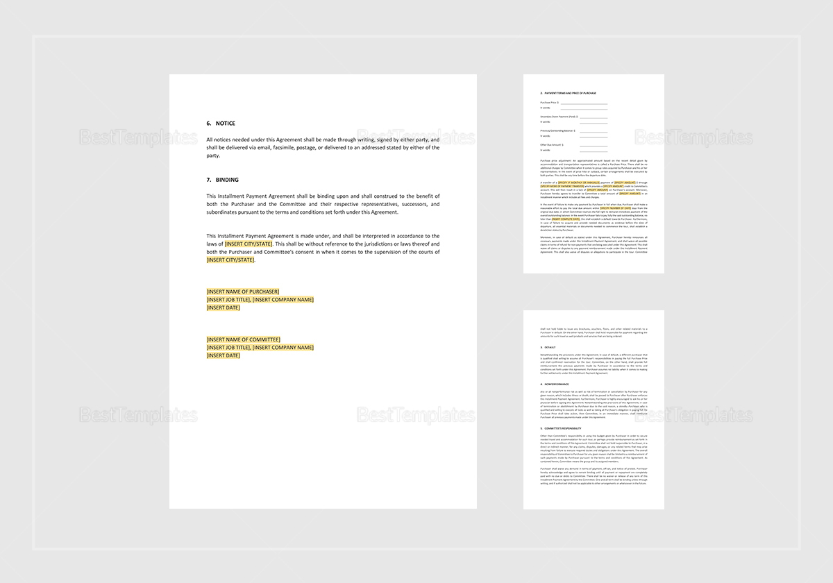 Sample Instalment Payment Agreement Template