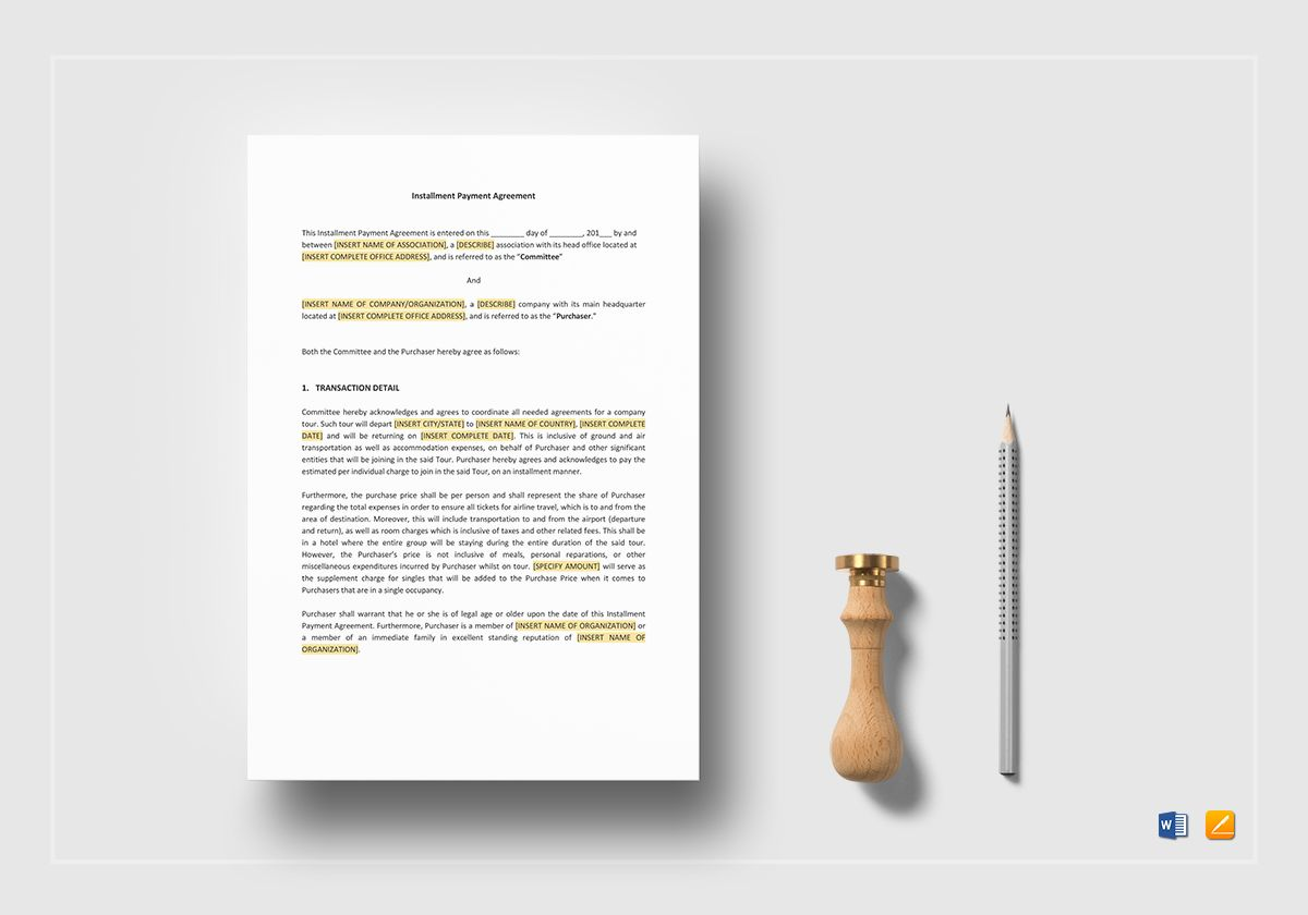Instalment Payment Agreement Template In Word Apple Pages