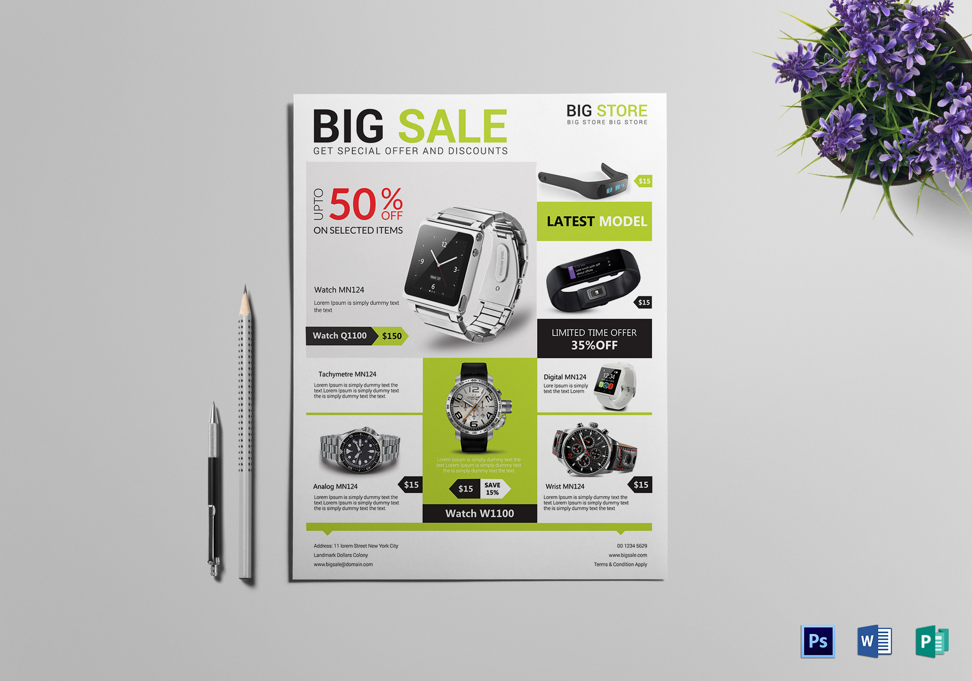 Big Sale Offer Flyer Design Template In Psd Publisher Word