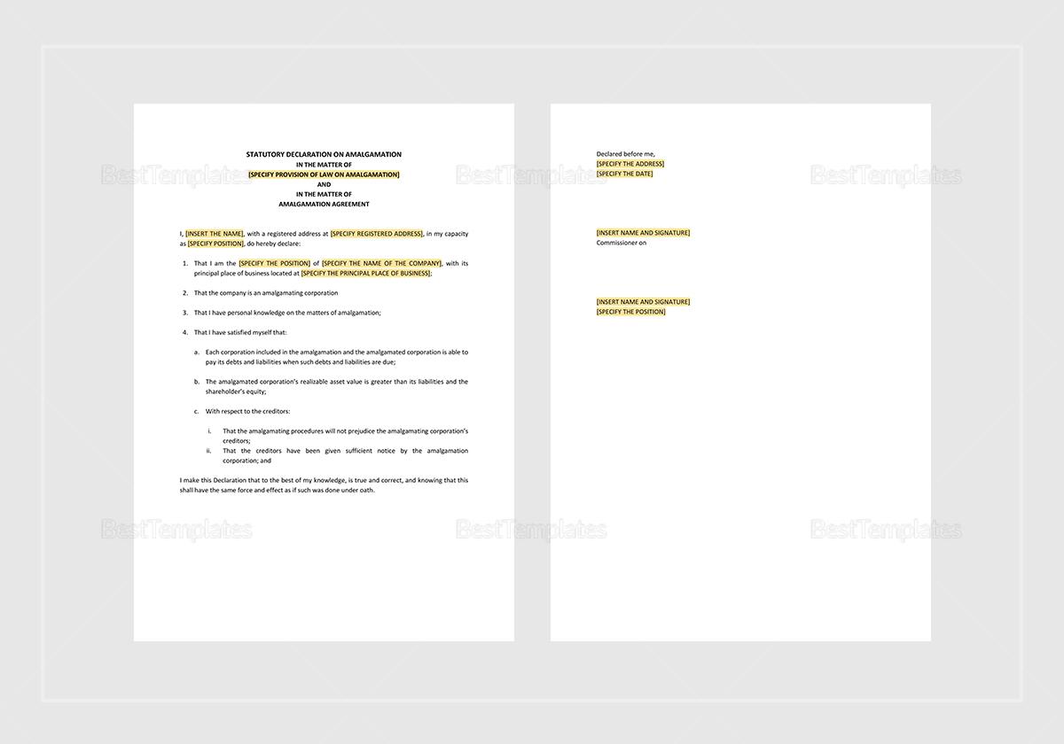 Sample Statutory Declaration on Amalgamation Template