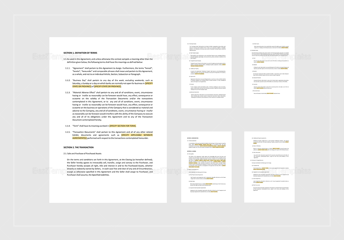 Asset Purchase Agreement For A Retail Business Template In Word