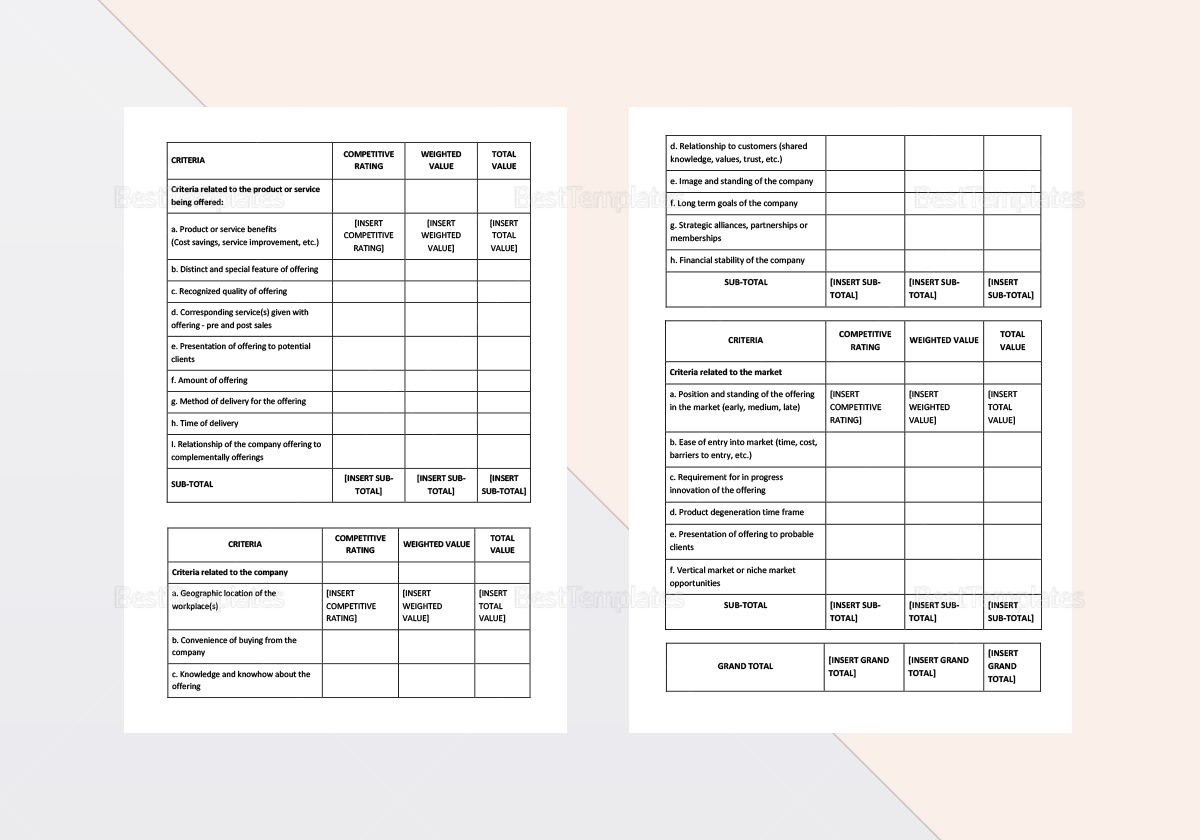 Sample Products and Services Differentiation Worksheet Template