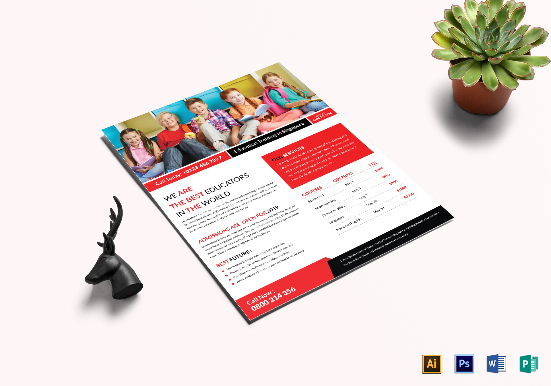 education training flyer design template in word psd publisher