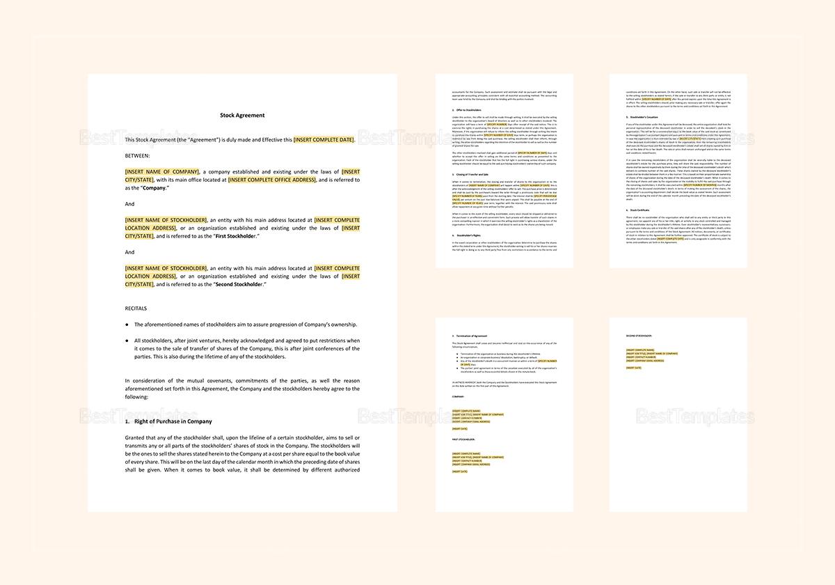 Sample Stock Agreement Template