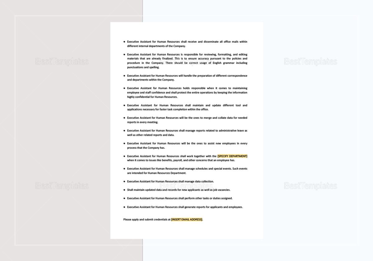 Sample Executive Secretary Job Description Template