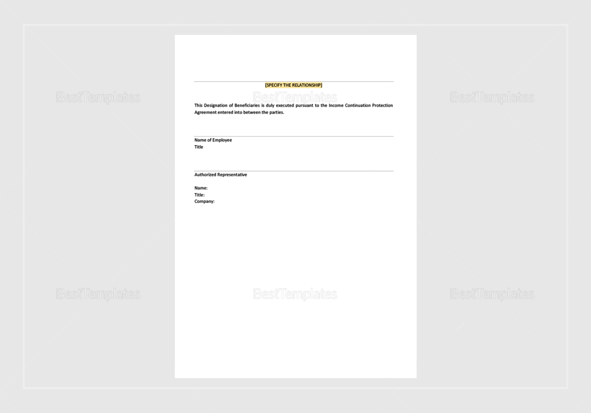 Sample Income Continuation Protection Agreement Template