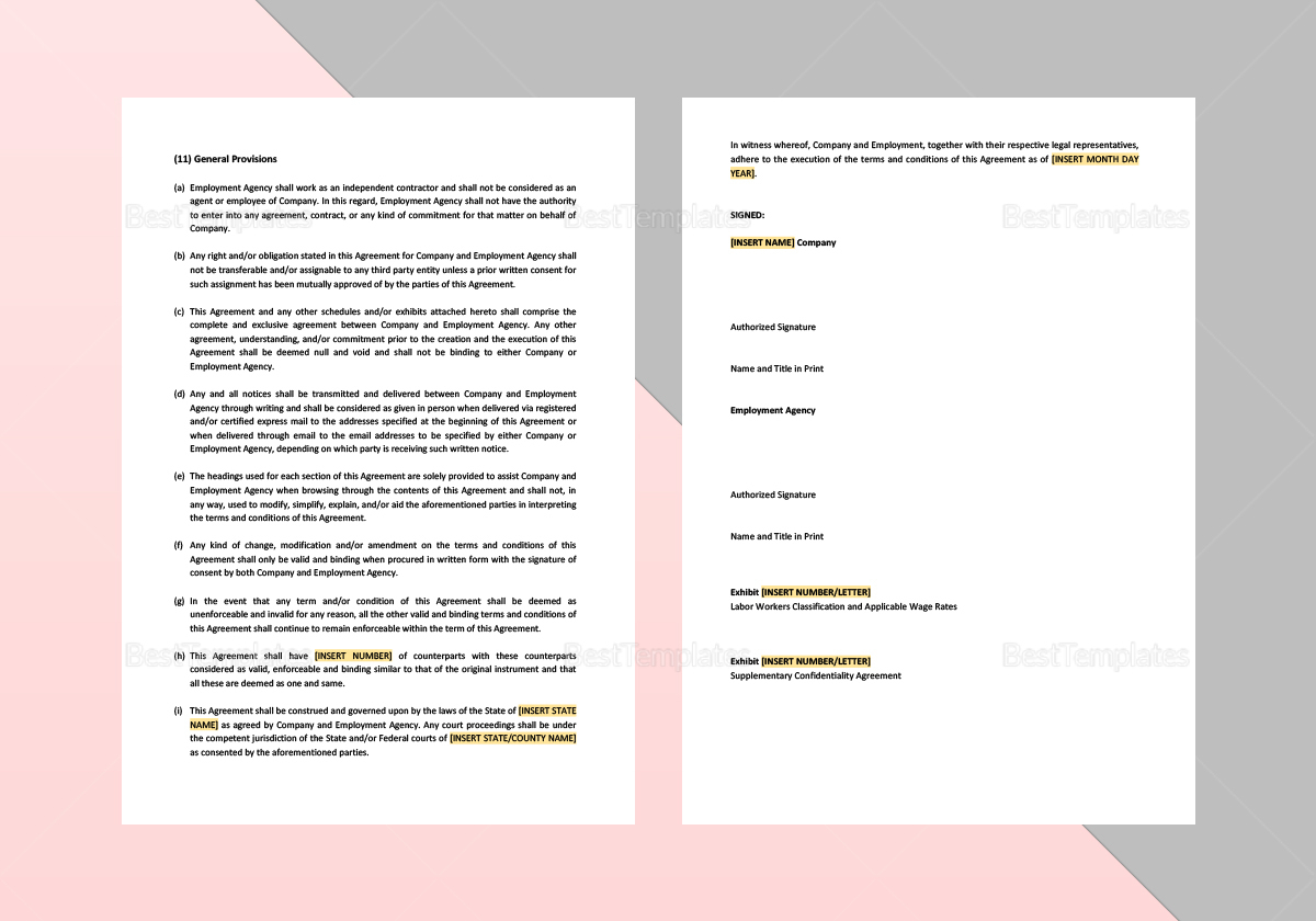 Simple Employment Agency Agreement Template