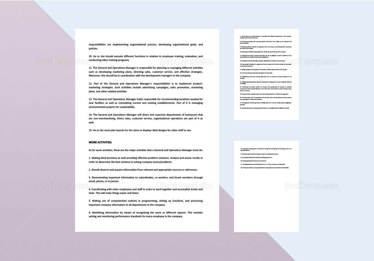Sample General and Operations Manager Job Description Template