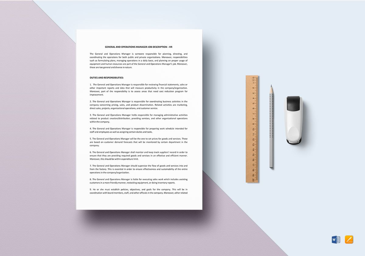 General and Operations Manager Job Description Template
