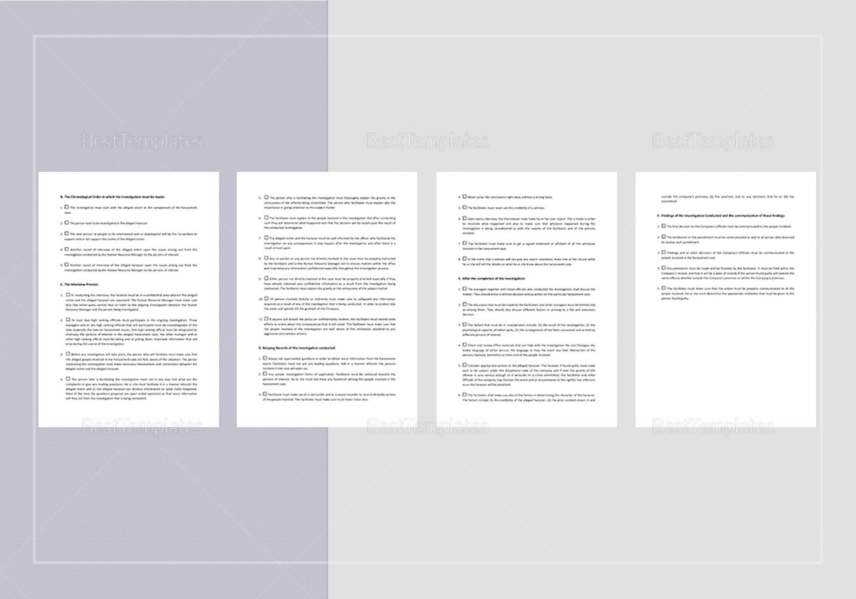 Sample Checklist Investigating Complaints of Harassment Template