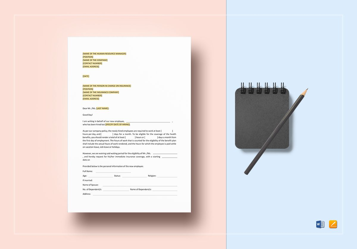Request Immediate Insurance Coverage for New Employee Template