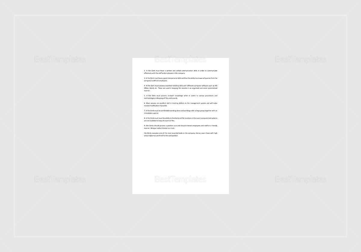 Sample File Clerk Job Description Template
