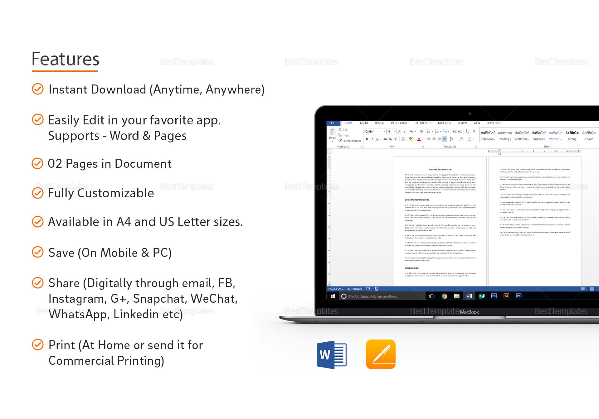 Simple File Clerk Job Description Template