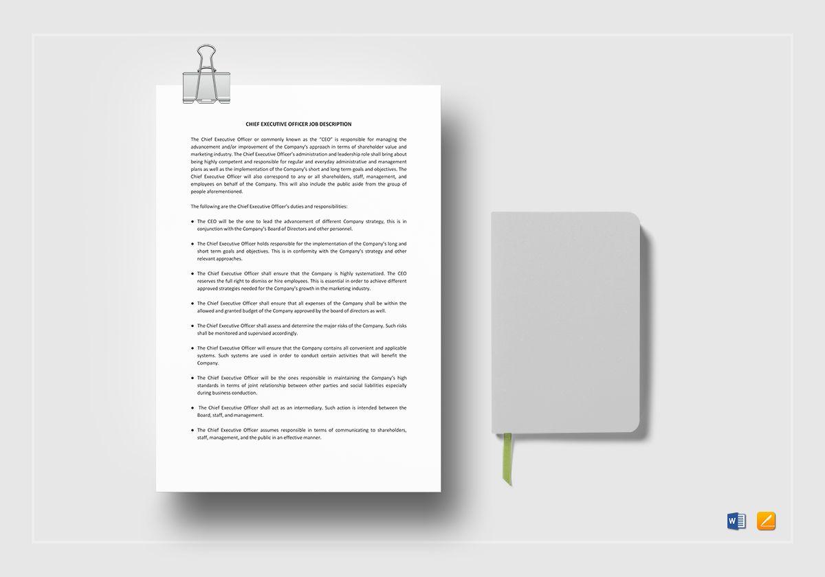 Chief Executive Officer Job Description Template