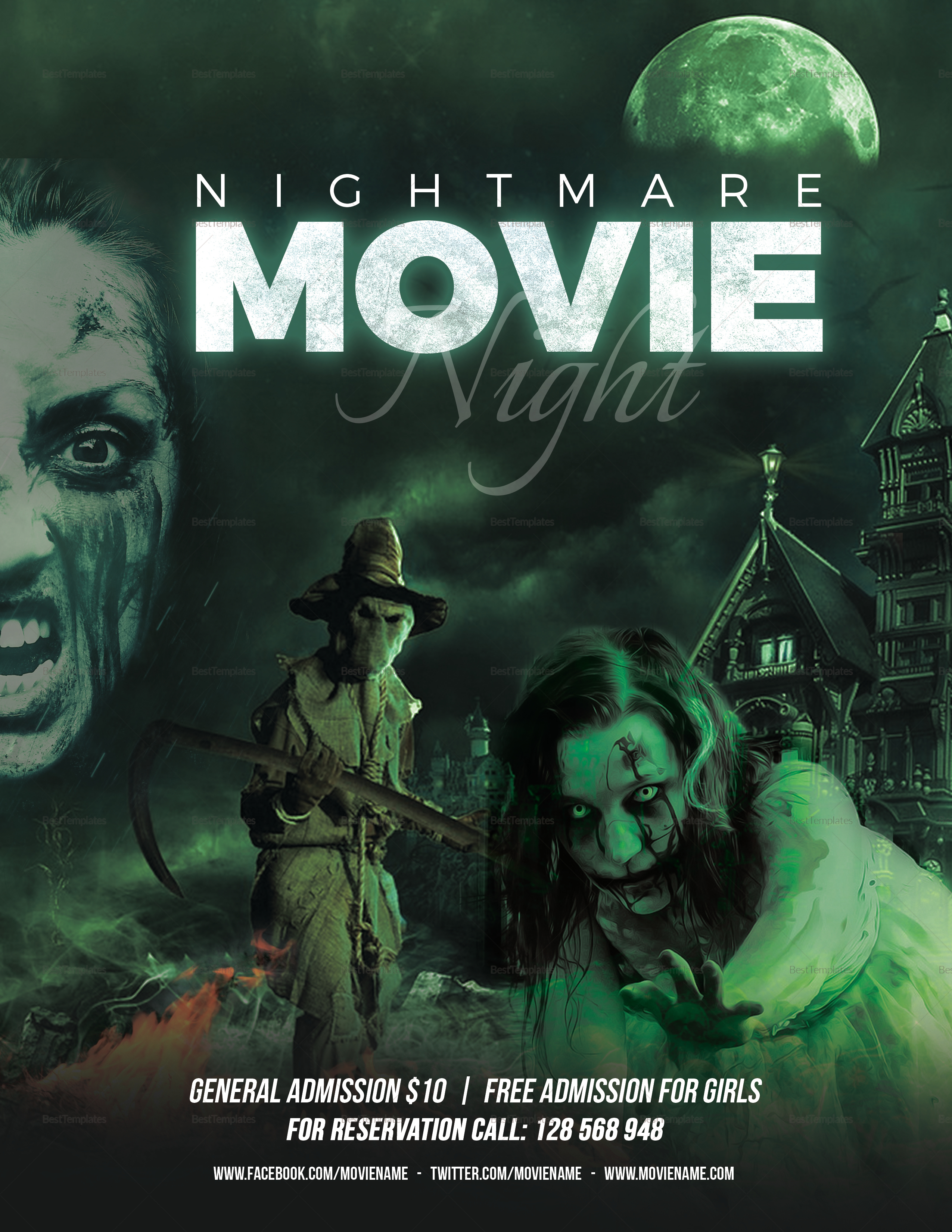 Realistic Horror Movies Night Flyer Template