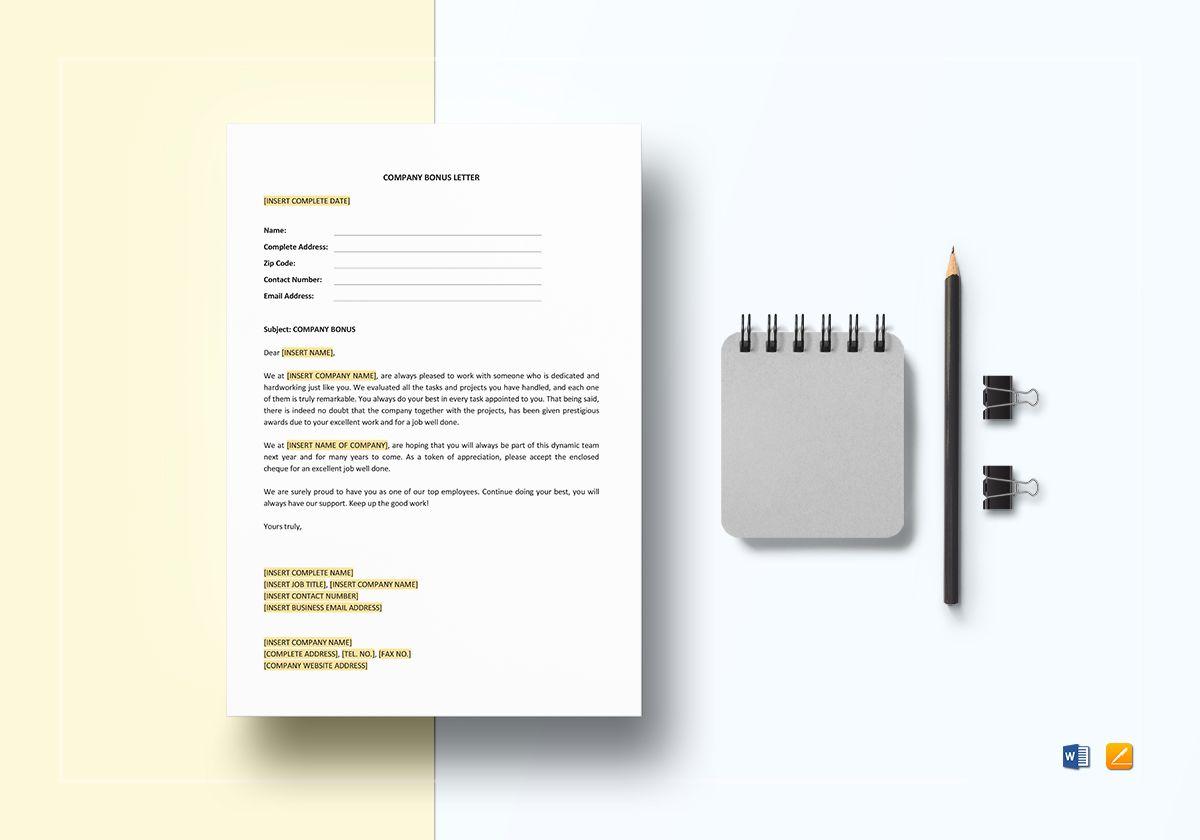 Company Bonus Letter