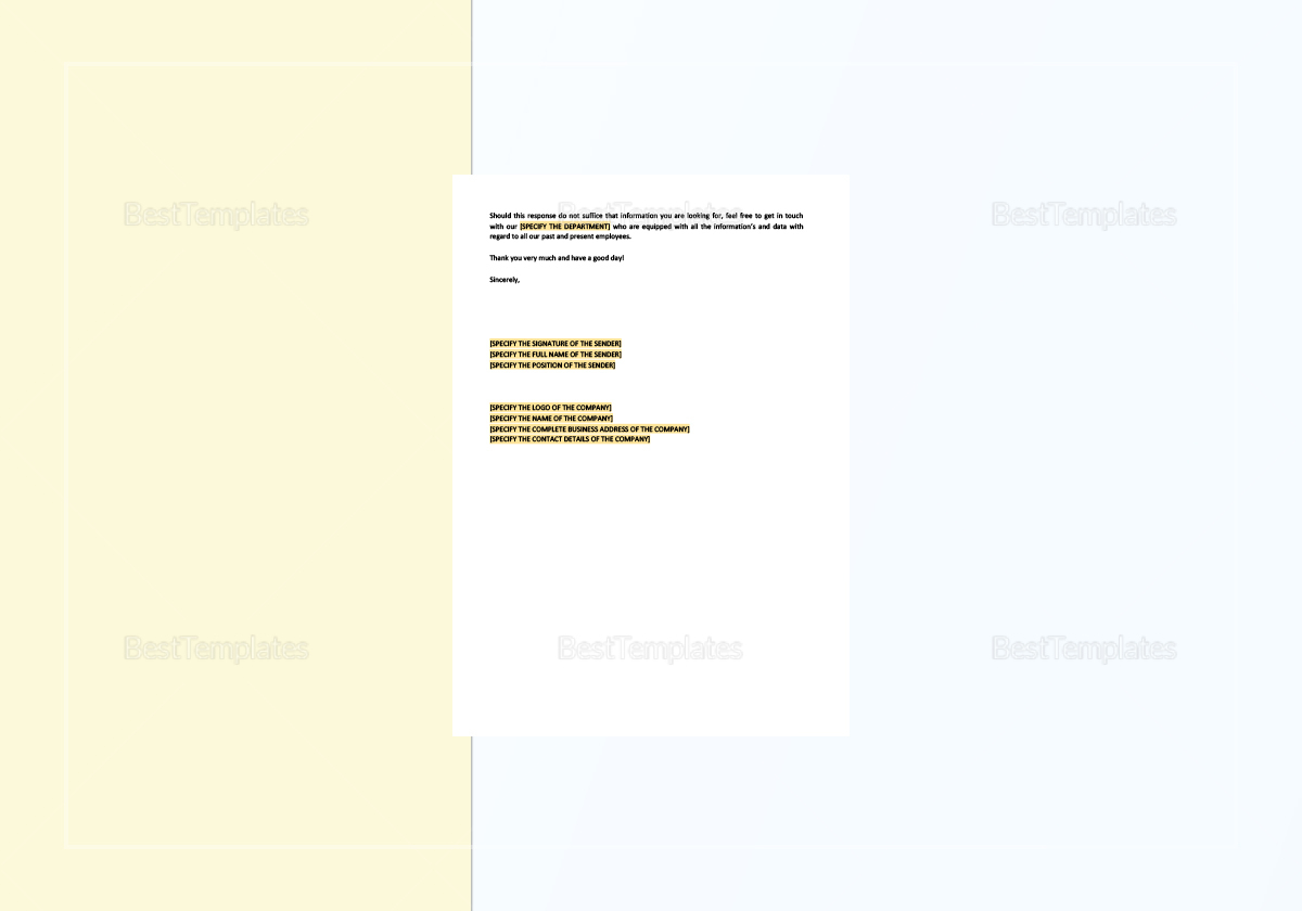 Sample Response to Inquiry Concerning Former Employee Template