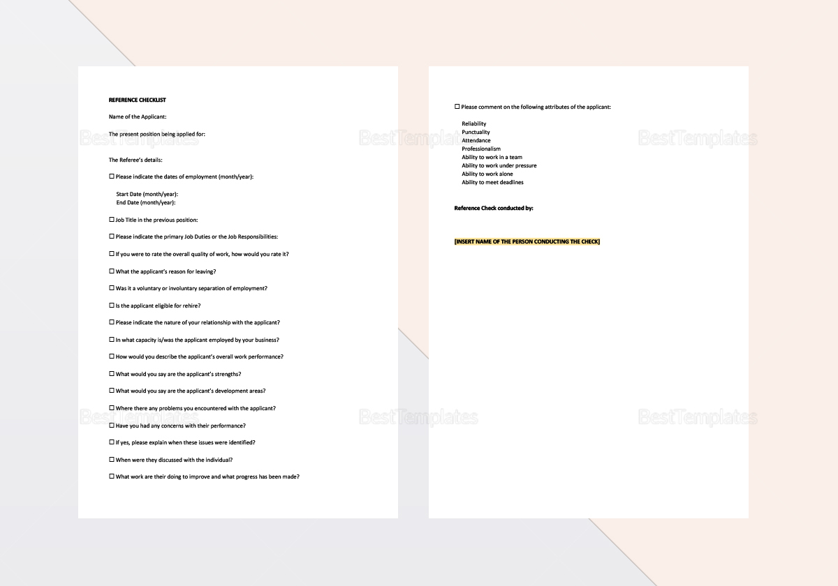 Sample Reference Check Letter Template