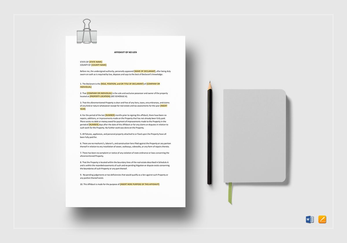 affidavit of no lien template in word apple pages