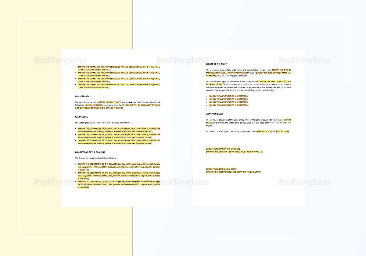 Sample Deed of Hypothec on Movables Template