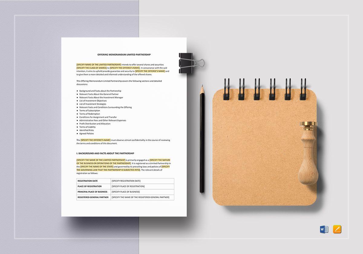 Offering Memorandum Limited Partnership Template