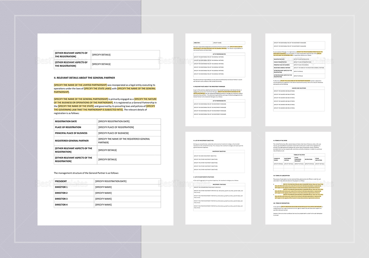 Sample Offering Memorandum Limited Partnership Template