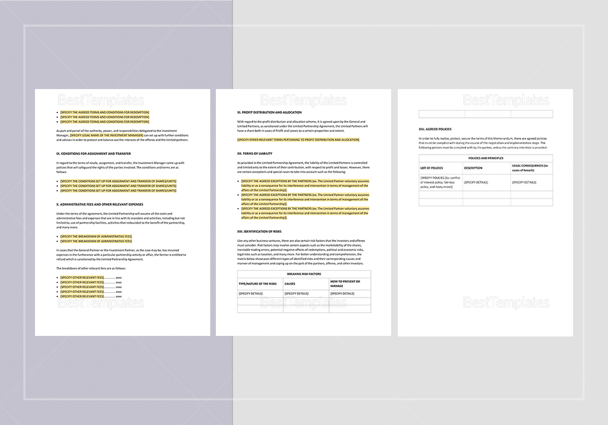 Simple Offering Memorandum Limited Partnership Template