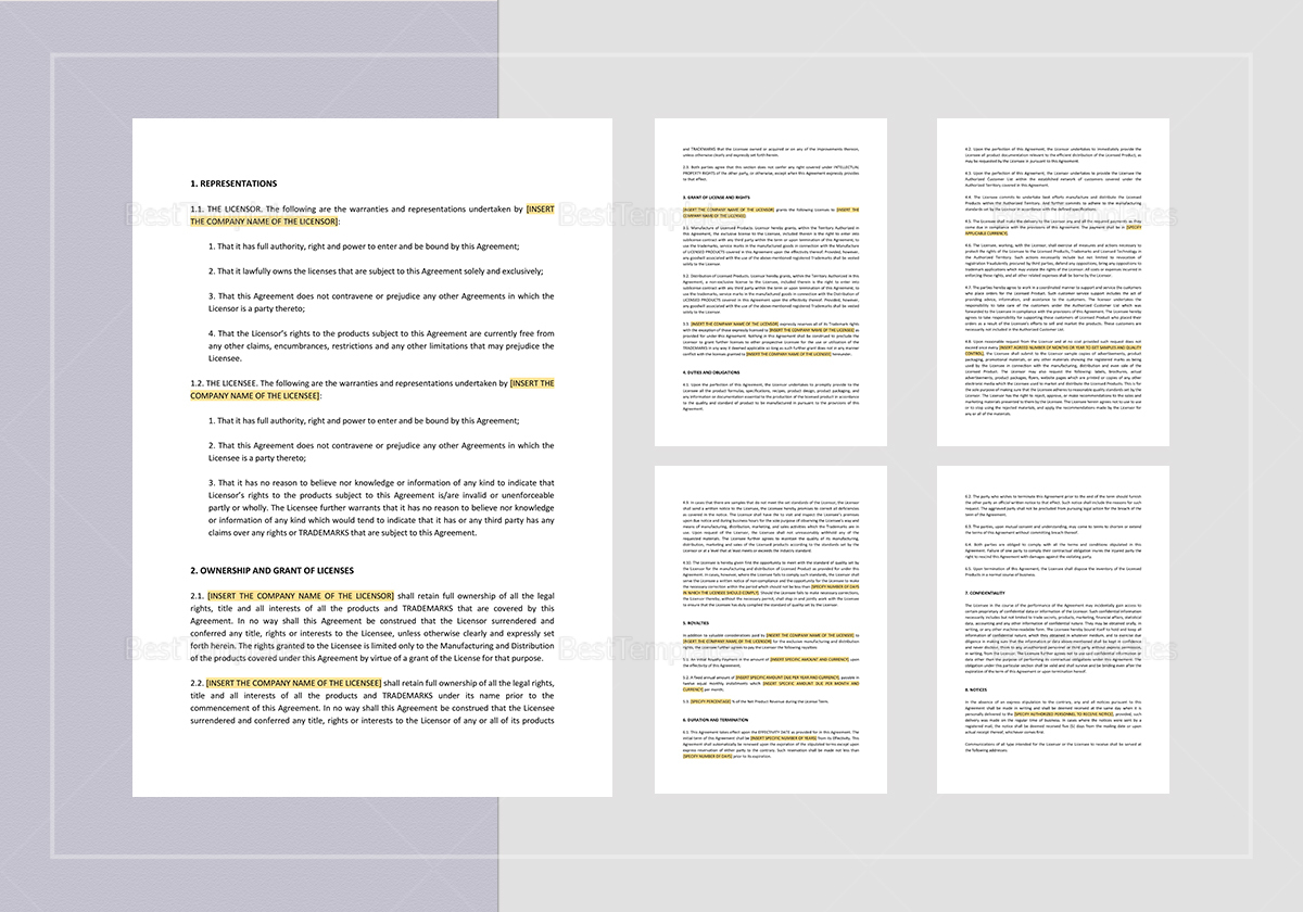 Sample Manufacturing & Distribution Agreement Template