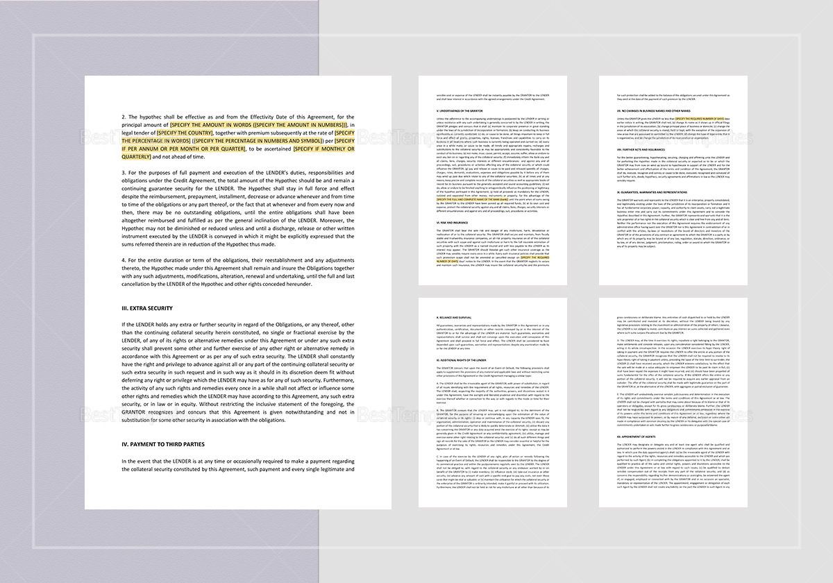 Sample Movable Hypothec Agreement Template