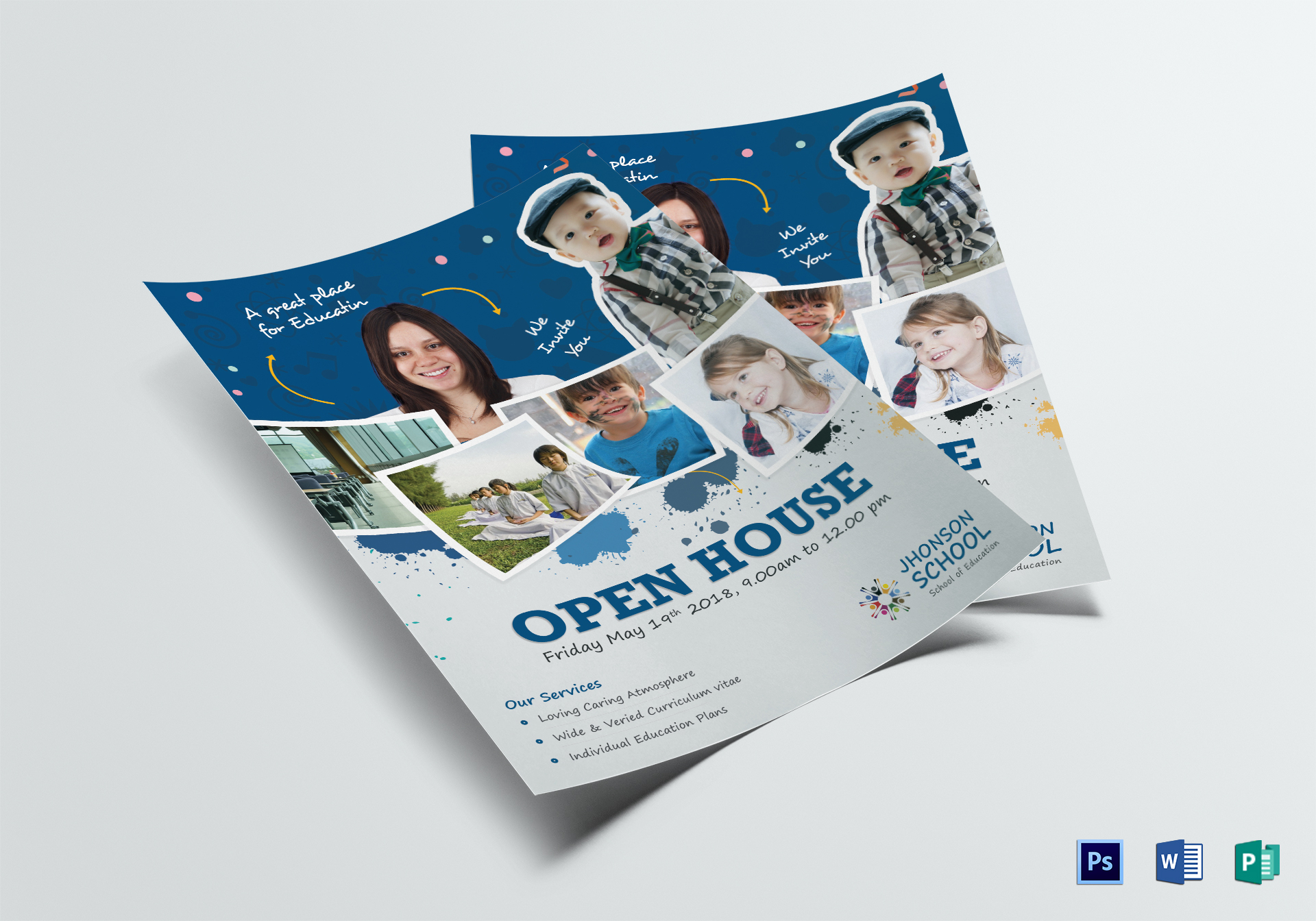 kids open house flyer template