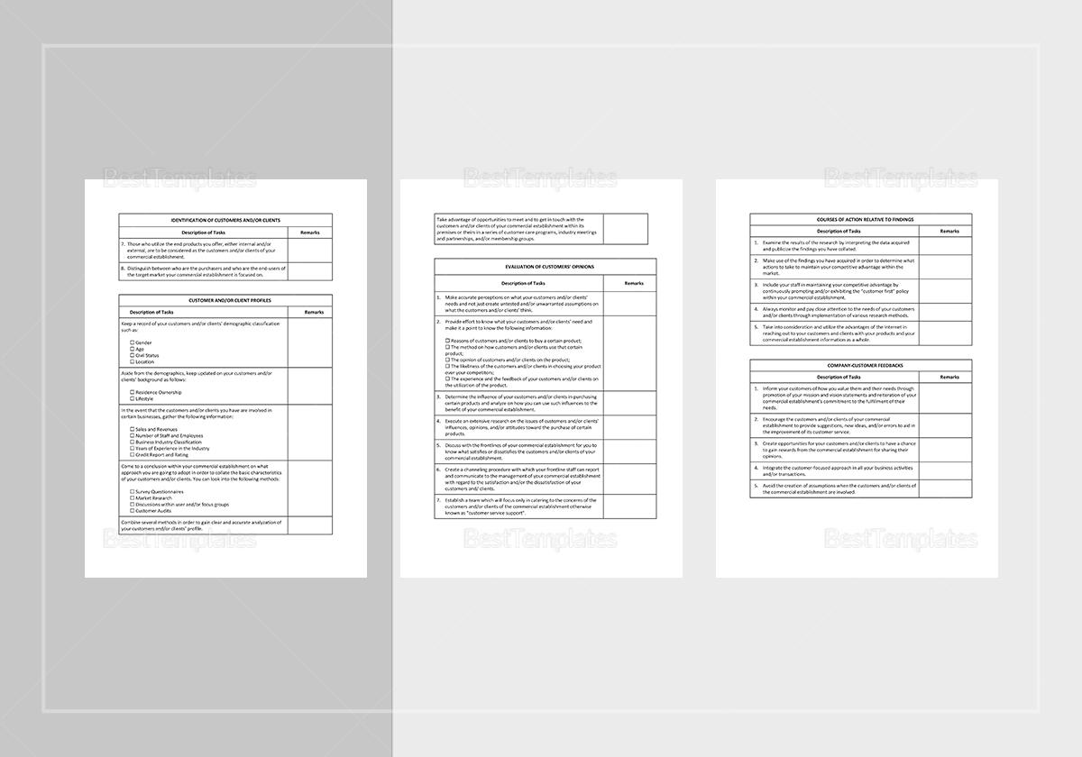 Sample Customer Service Improvement Checklist Template