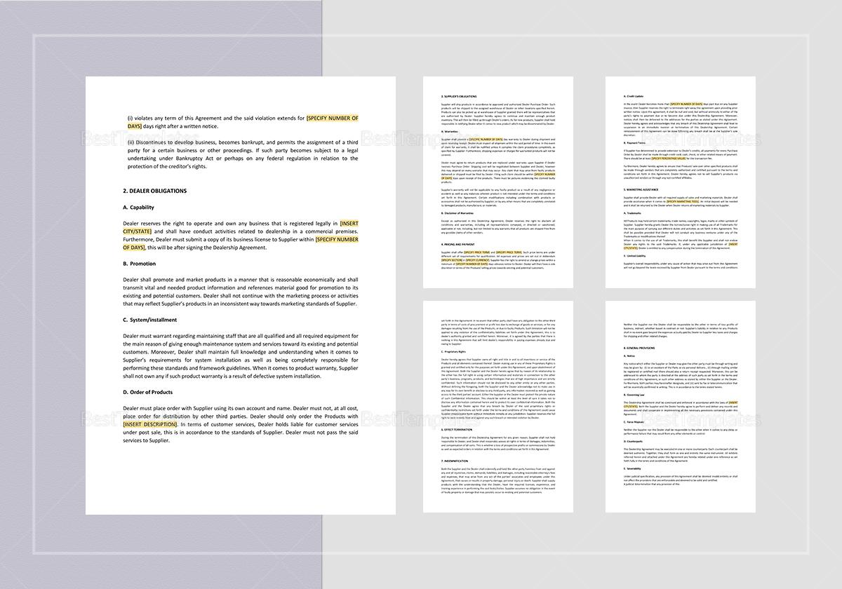 Sample Dealership Agreement Template