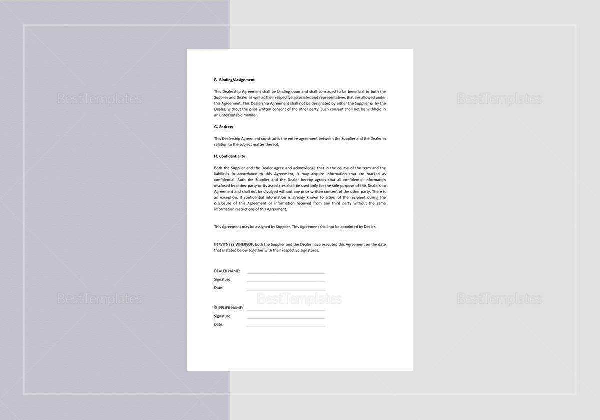 Simple Dealership Agreement Template