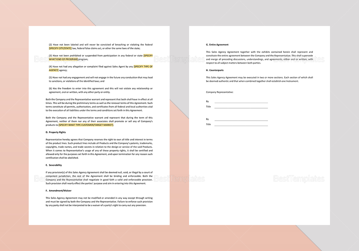 Simple Sales Agency Agreement Template