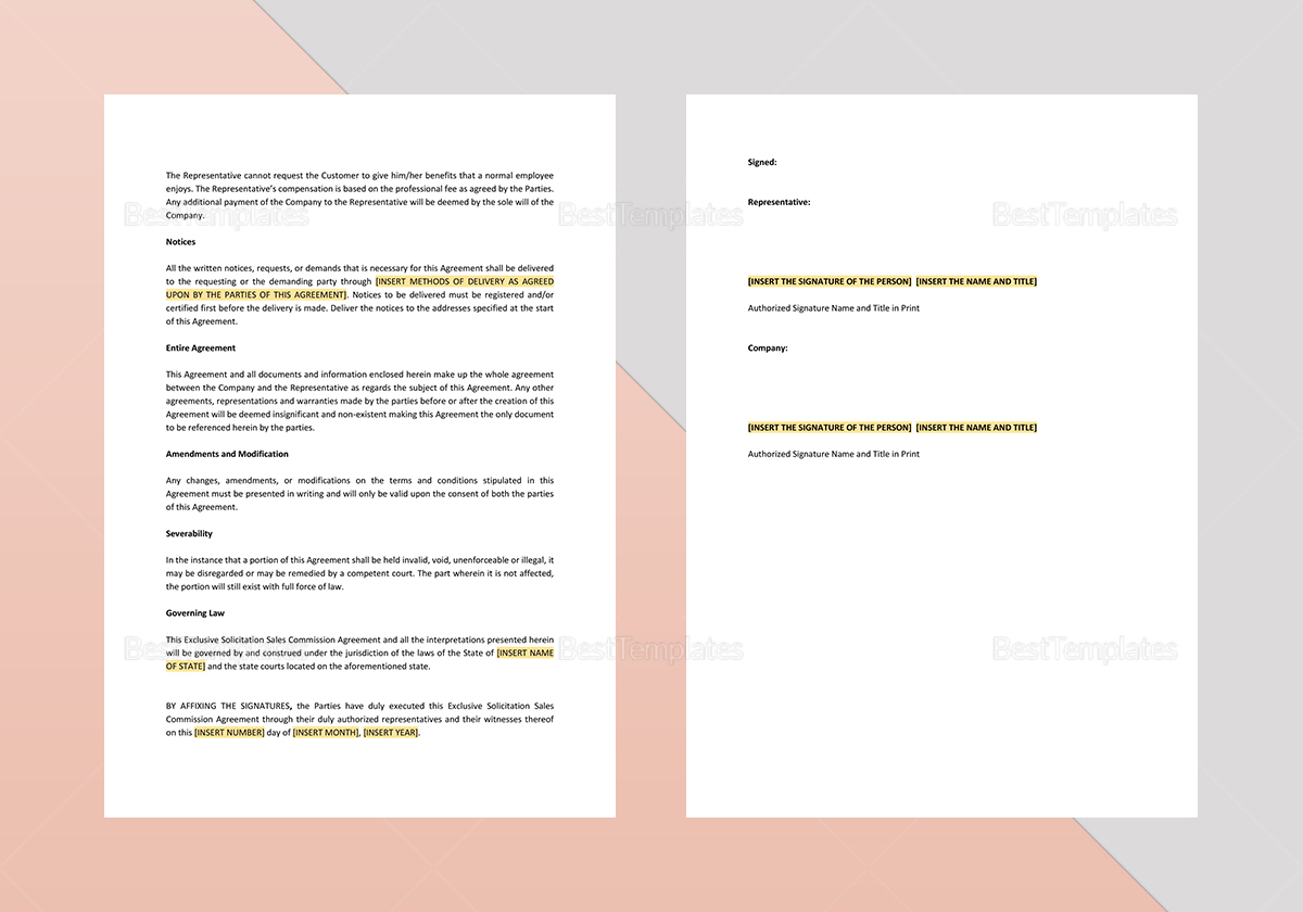 Simple Exclusive Solicitation Sales Commission Agreement Template