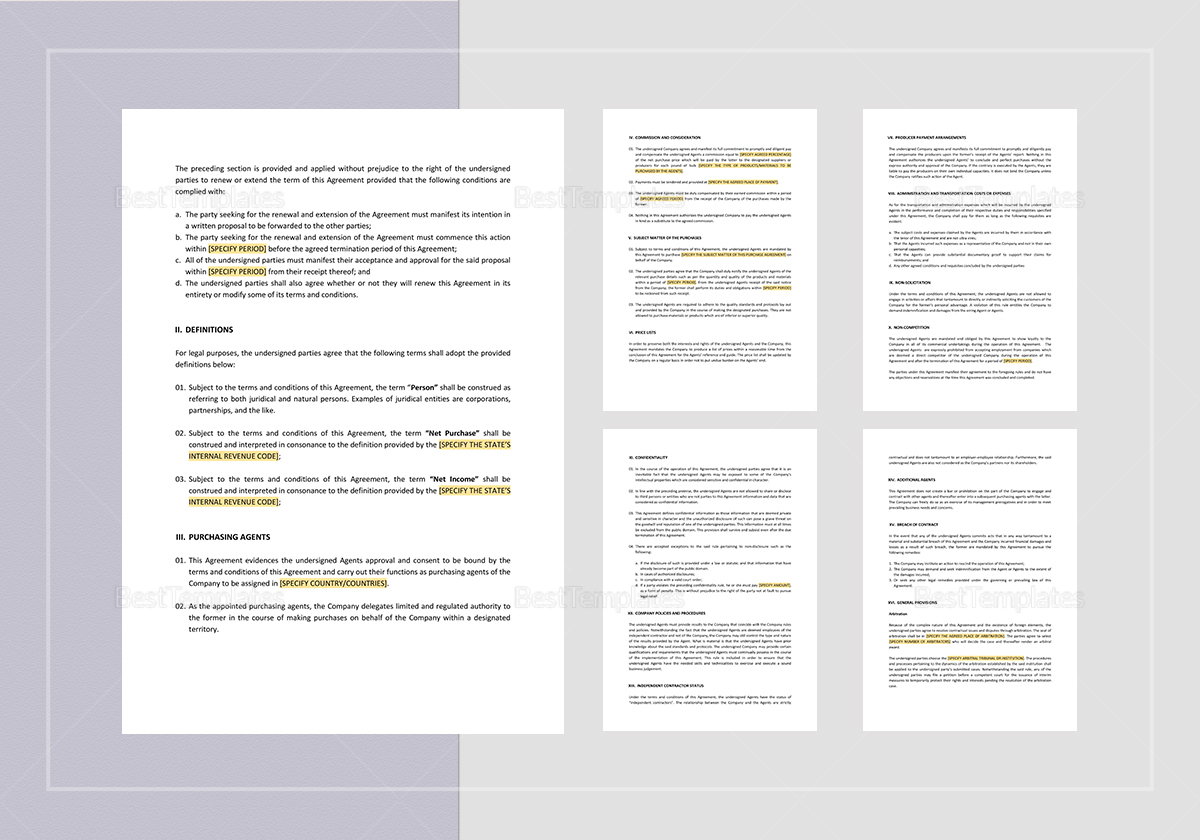 Sample Purchasing Agents Agreement Template