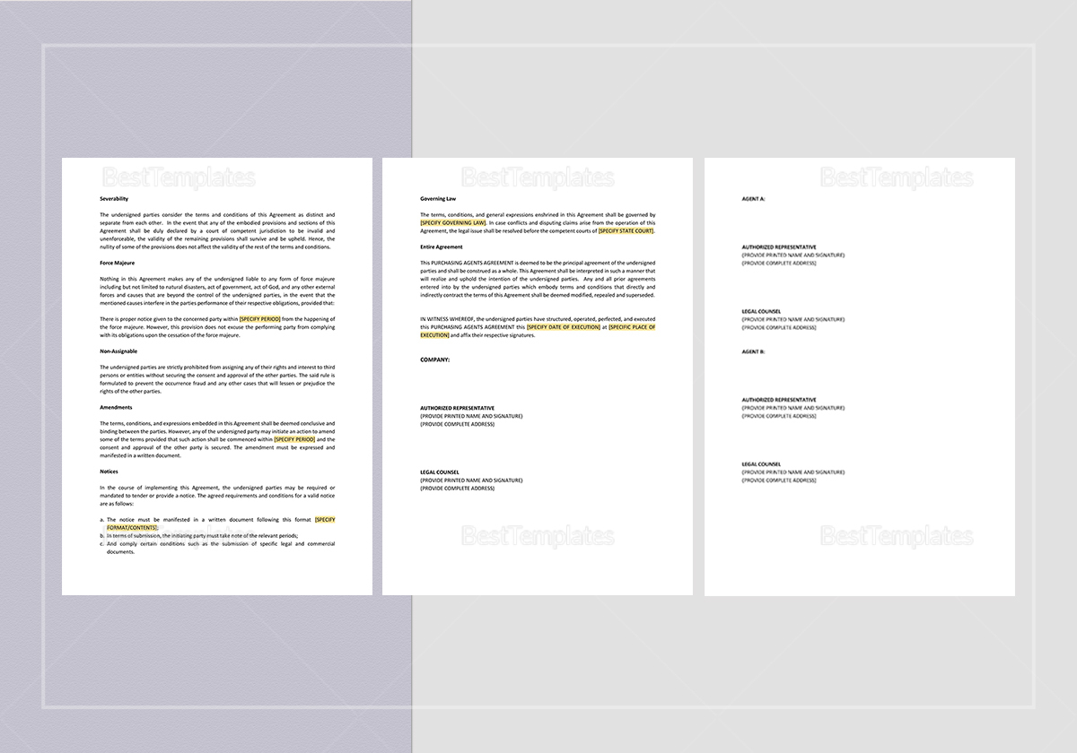 Simple Purchasing Agents Agreement Template