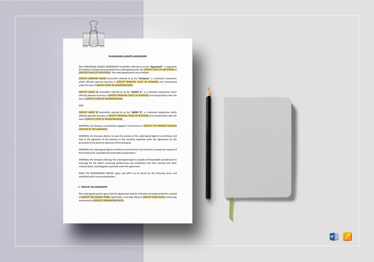 Purchasing Agents Agreement Template