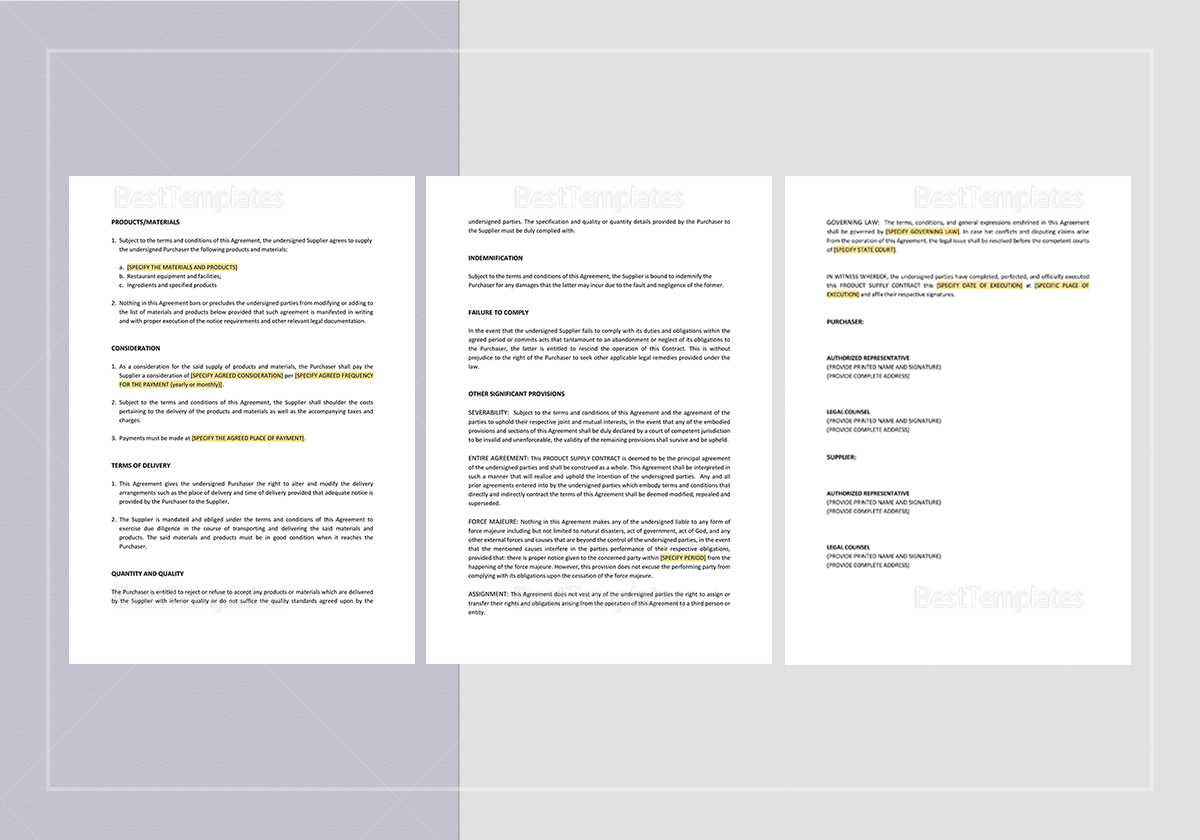 Sample Product Supply Contract Template