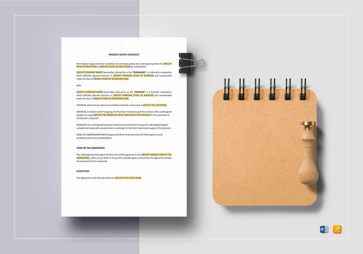 Product Supply Contract Template