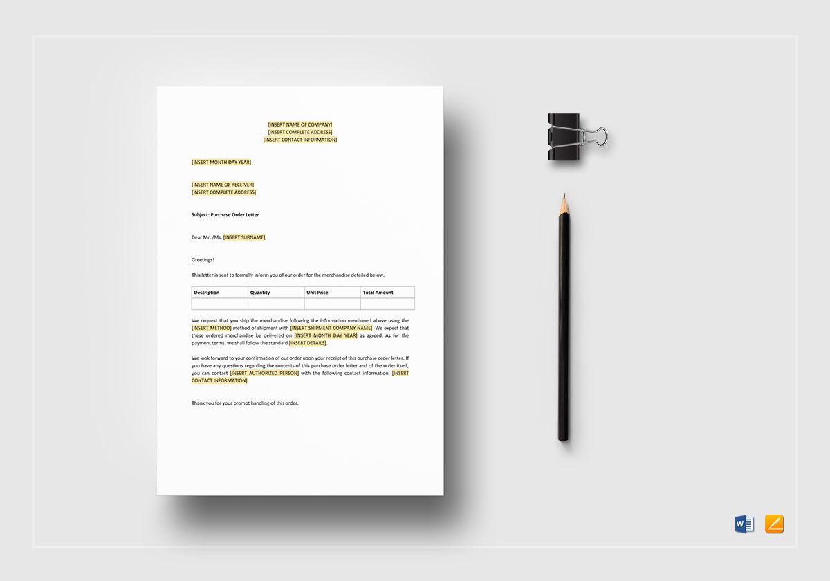 purchase order letter template in word  apple pages