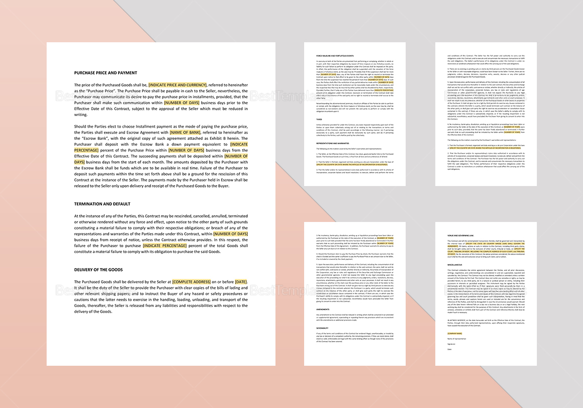 Contract for the Sale of Goods Template to Edit