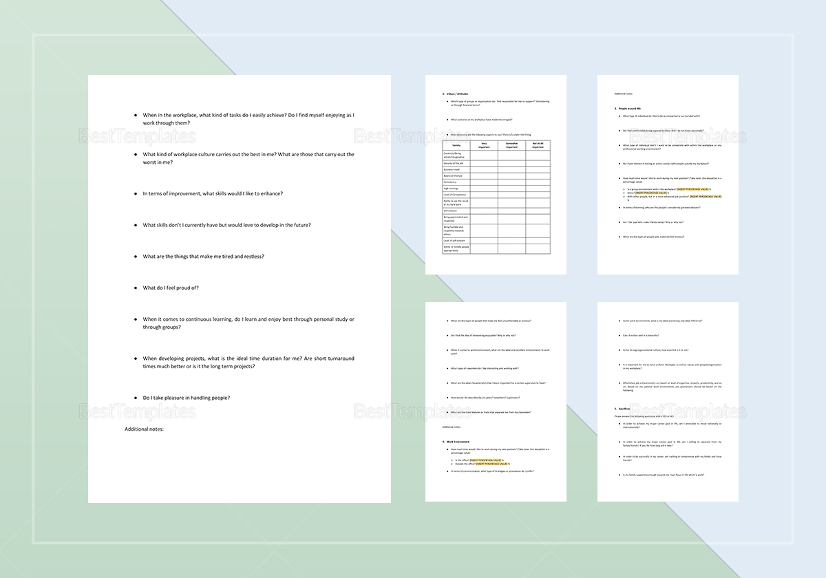 Sample Worksheet Self-Assessment Template