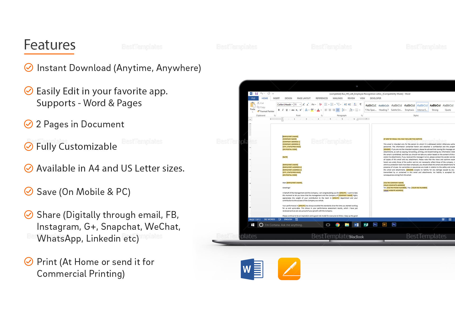 employee recognition letter template in word apple pges