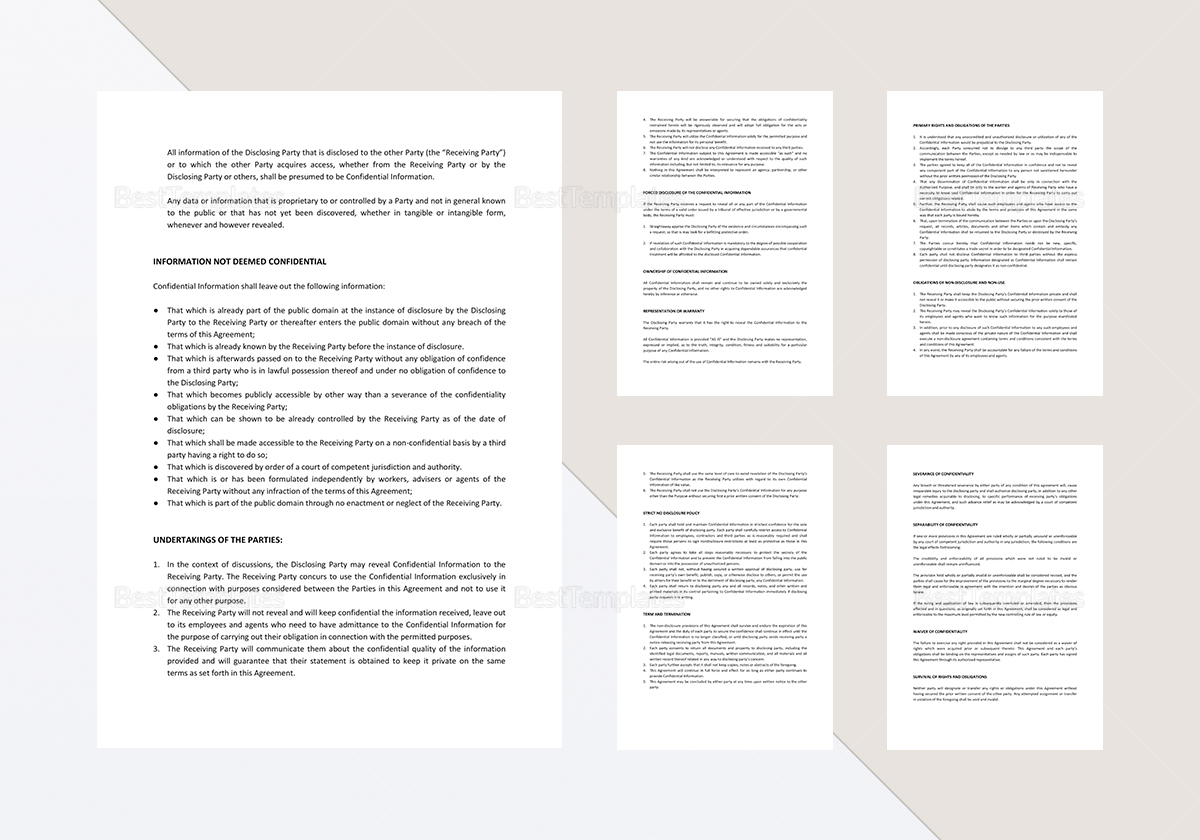 Sample Mutual Confidentiality Agreement Template