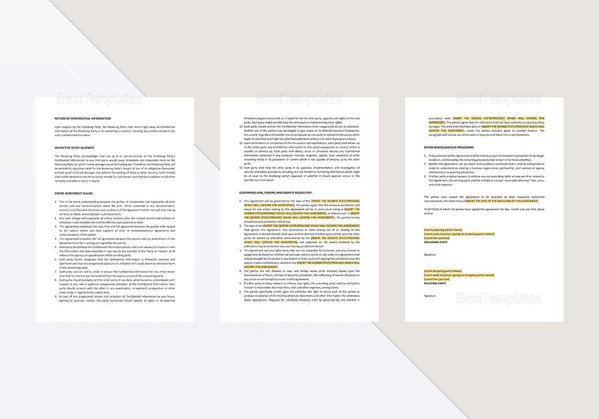 Simple Mutual Confidentiality Agreement Template