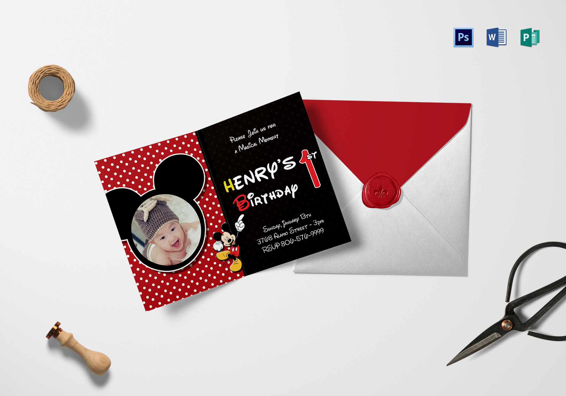 Mickey Mouse Birthday Invitation Card Design Template in Word, PSD ...