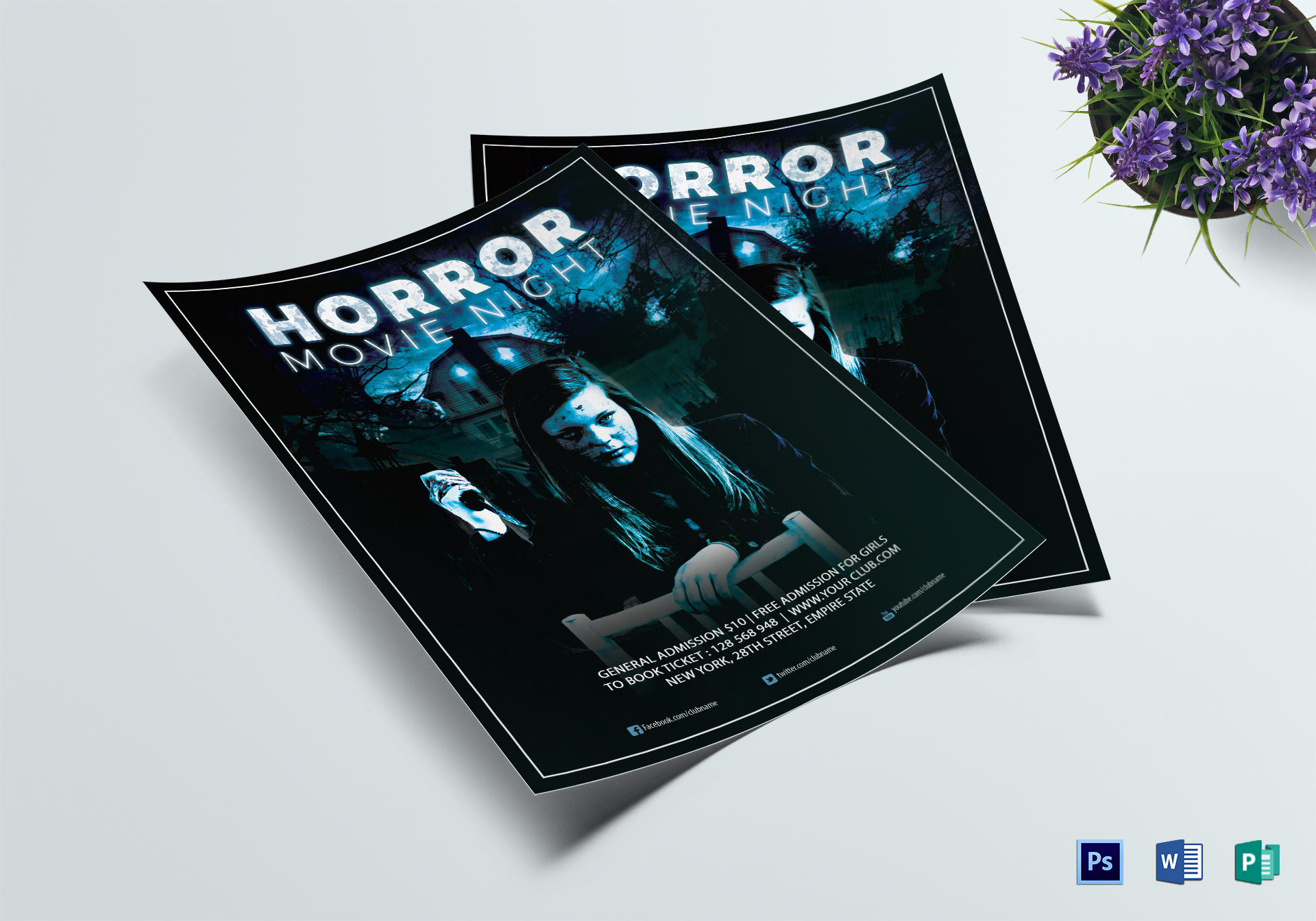 Thrilling Horror Movie Night Flyer Template