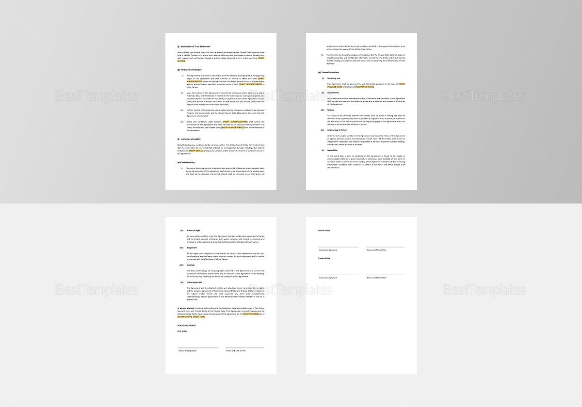 Sample Source Code Trust Agreement Licensed Program Template