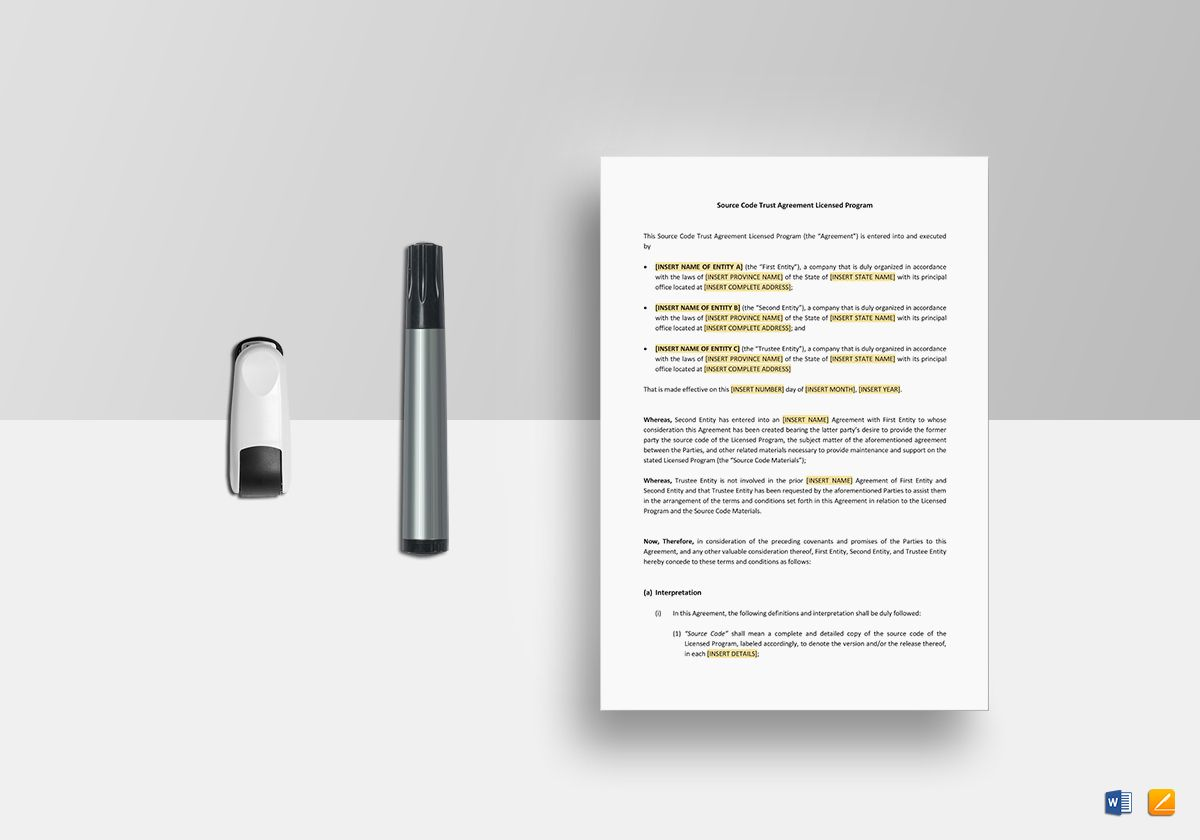 Source Code Trust Agreement Licensed Program Template